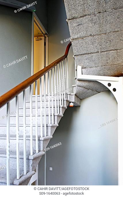 Wrought iron handrail and stone stairway in contemporary office building, Booterstown, Dublin, County Dublin, Ireland