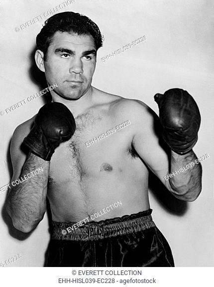 German boxer Max Schmeling in a boxing pose in 1938. On June 22, 1938 he lost in a rematch with American Joe Louis. - (BSLOC-2014-17-153)