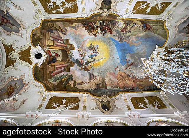 Ceiling frescoes, Parish Church of the Assumption of the Virgin Mary, Prien am Chiemsee, Upper Bavaria, Bavaria, Germany, Europe