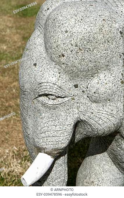 Part of granite elephant statue. Close-up