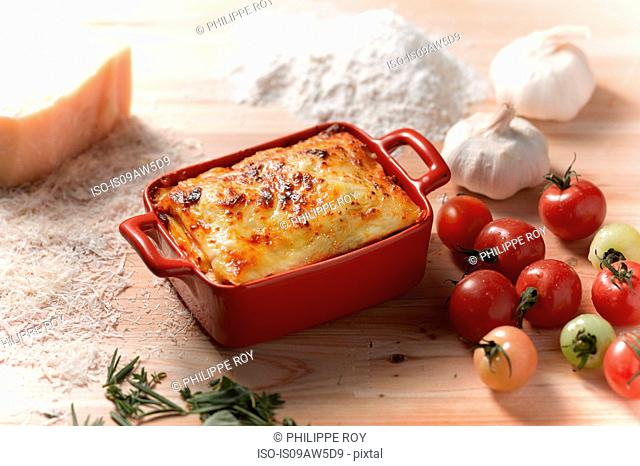 High angle view of lasagne in rectangular casserole dish