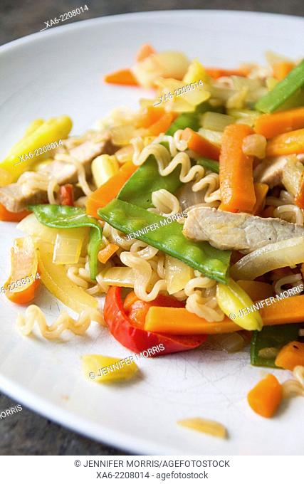 Freshly prepared vegetable and noodle stir fry