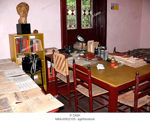 Mexico, Mexico-city, Coyoacan, Museo-Casa-de-Leon-Trotsky, studies Leo Trotzkis, house, museum-buildings, culture, showroom, living spaces, rooms, table, desk