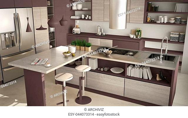 Modern wooden kitchen with wooden details, close up, island with stools, white and red minimalistic interior design