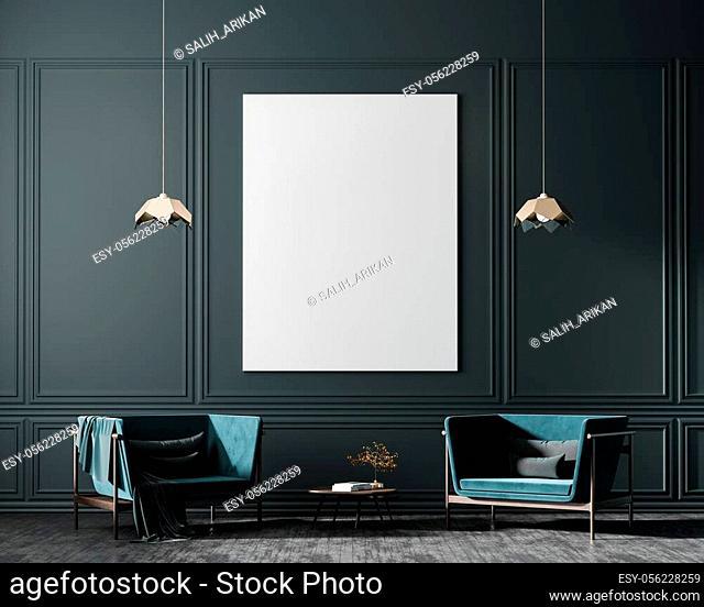 Mock up poster frames in scandinavian style interior with arcmhair. Minimalist interior design. 3D illustration