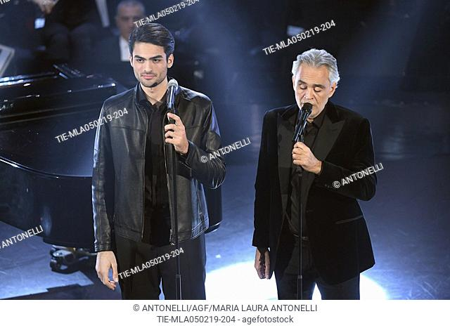 Singer Andrea e Matteo Bocelli during Sanremo early evening. 69th Festival of the Italian Song. Sanremo, Italy 05 Febr 2019