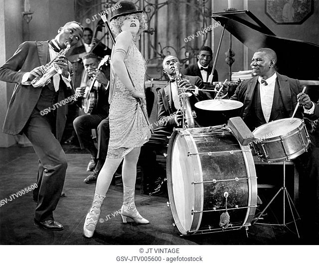 Mae Murray and Jazz Band, on-set of the Silent Film, Circe, The Enchantress, 1924
