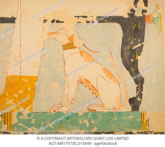 Facsimile of a painting in the tomb of Nebamun: dog seated beneath Its owner's chair, New Kingdom, Dynasty 18, ca. 1479–1458 B.C