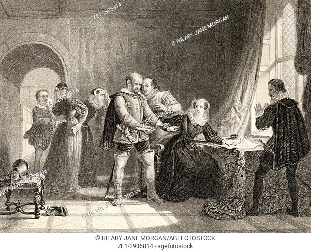 Mary Queen of Scots compelled to sign her abdication in Lochleven Castle in 1567. Mary Stuart, born as Mary Stewart, 1542 to 1587