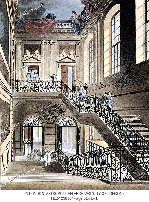 British Museum, Holborn, Camden, London, 1808; view of the hall and staircase