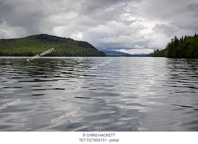 Scenic view of lake on cloudy day