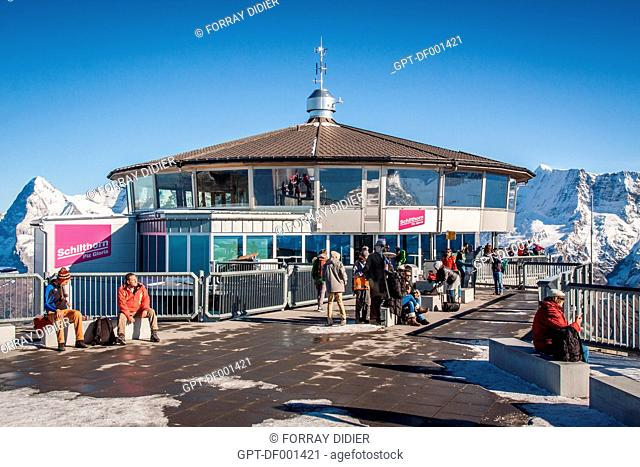 VIEW OF THE TERRACE AND THE RESTAURANT AT THE SUMMIT OF THE SCHILTORN, THE PLACE WHERE THEY SHOT THE FILM ON HER MAJESTY'S SECRET SERVICE STARRING GEORGE...