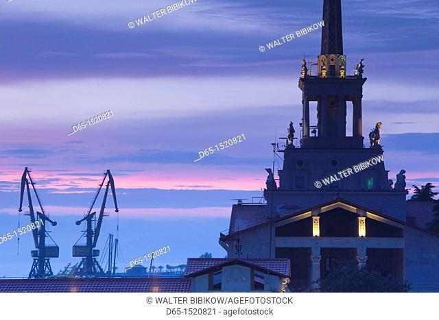 Russia, Black Sea Coast, Sochi, Sea Terminal, dusk