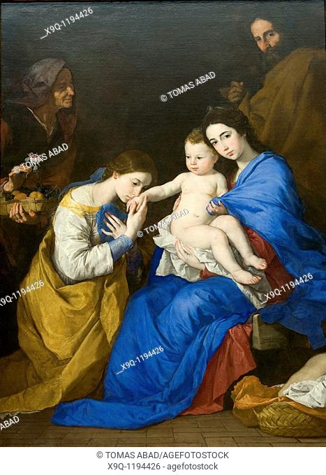 The Holy Family with Saints Anne and Catherine of Alexandria, 1648, Jusepe de Ribera Spanish, 1591-1652, 82 1/2 x 60 3/4 in 209 6 x 154 3 cm