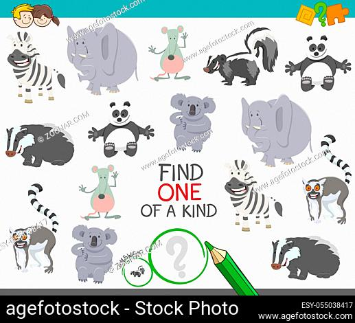 Cartoon Illustration of Find One of a Kind Picture Educational Activity Game with Happy Wild Animal Characters