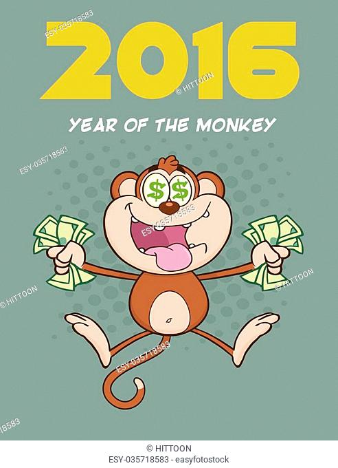 Rich Monkey Cartoon Character Jumping With Cash Money and Dollar Eyes