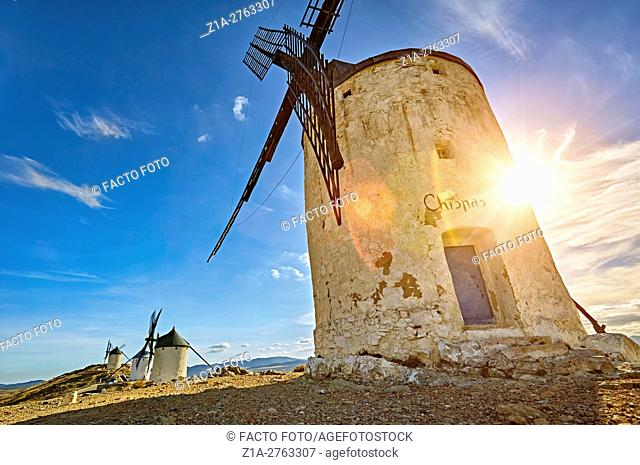 Landscape with windmills of Consuegra. Don Quixote route. Toledo. Castile-La Mancha. Spain