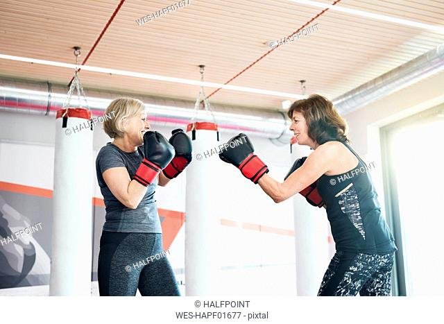 Two fit senior women boxing in gym