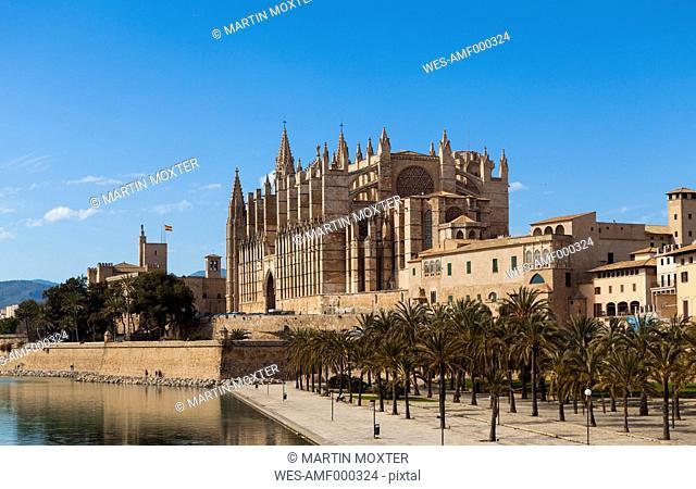 Spain, Mallorca, View of La Seu Cathedral
