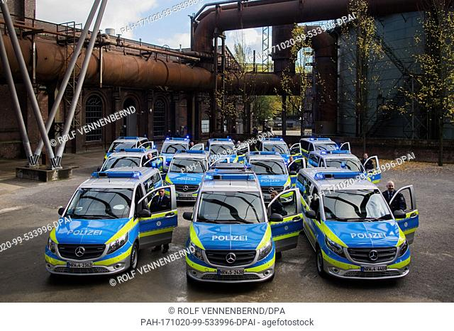 New Mercedes-Benz Vito vans for the police can be seen at the landscape park in Duisburg, Germany, 20 October 2017. Around 150 new vans of the model Vito will...
