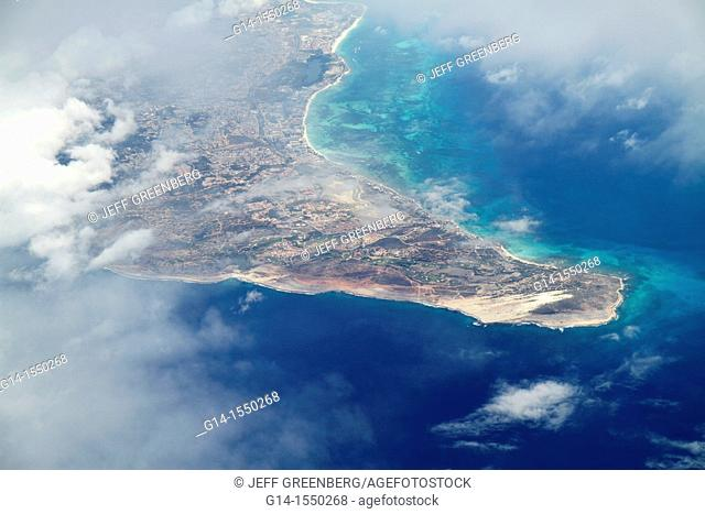Aruba, Netherlands Antilles, Dutch, Caribbean Sea, Arashi Bay, 30,000 foot aerial view from commericial airliner, clouds, northern coast, Post di Noord