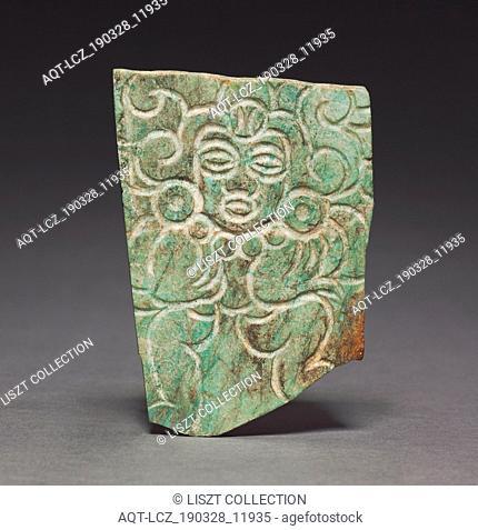 Pendant Plaque, c. 700-1000. Central Mexico, Xochicalco Style, 8th-10th Century. Greenstone; overall: 9.5 x 6.7 cm (3 3/4 x 2 5/8 in.)