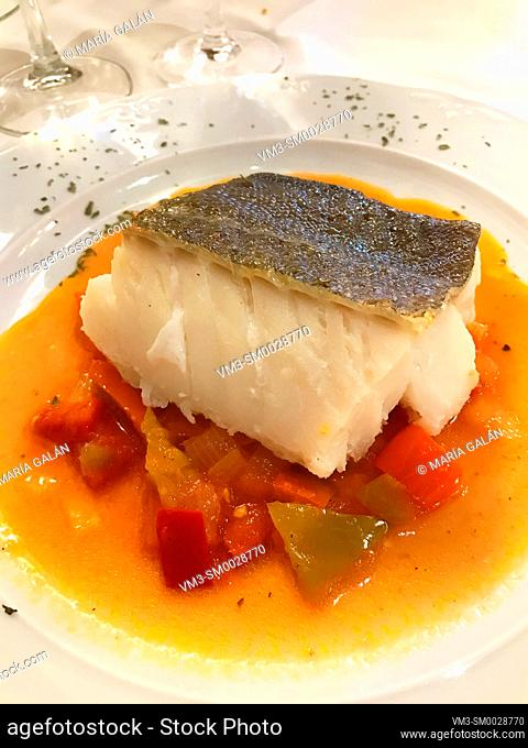 Cod loin with peppers