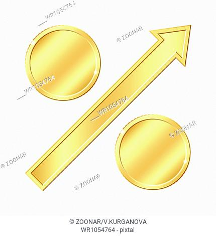 Growing percentage sign with gold coins