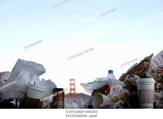 Trash, Golden Gate Bridge in the background