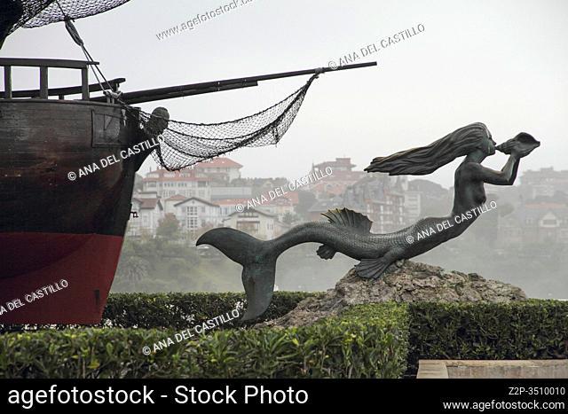 Magdalena peninsula Santander Spain.The mermaid statue of Sirena Magdalena on the Magdalena Peninsula in Santander, Spain