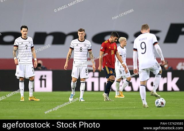 frustrated after the 4: 0: left to right Robin Koch (Germany), Toni Kroos (Germany), goalschuetze Ferran goalres (Spain) and Timo Werner (Germany)