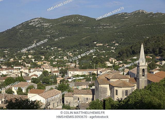 France, Bouches du Rhone, Massif de la Sainte Baume, village of Cuges les Pins, church