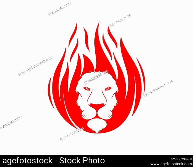 Lion head with fire flame shape
