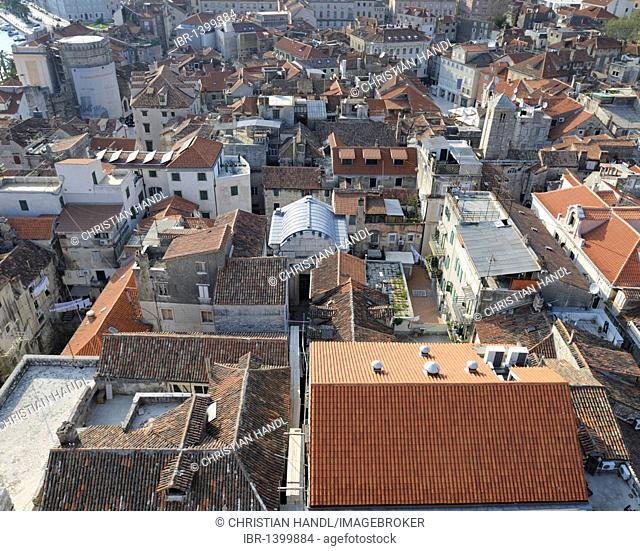 Looking west from the campanile of the Cathedral of St. Duje, Split, Croatia, Europe