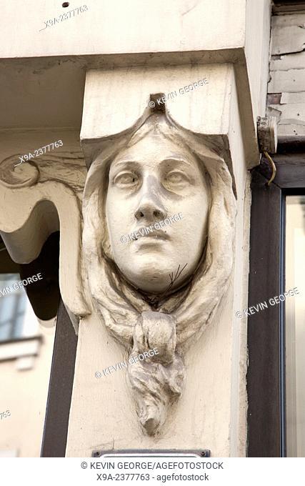 Art Nouveau Face on Building in Riga, Latvia