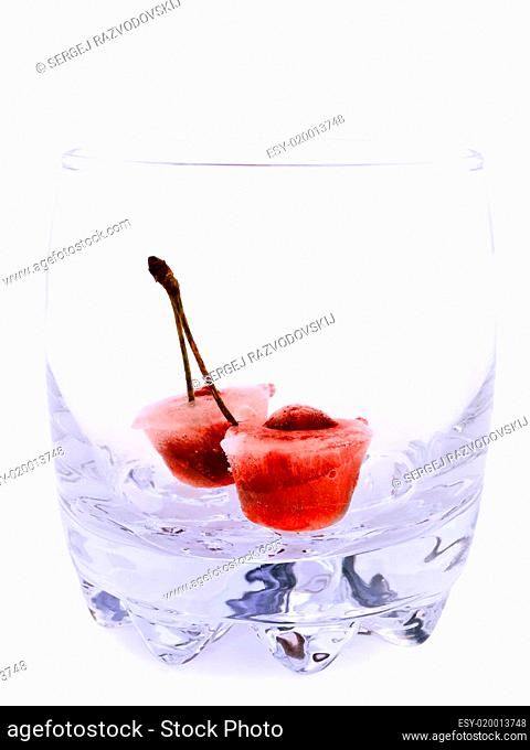 ice cherry in glass without drink