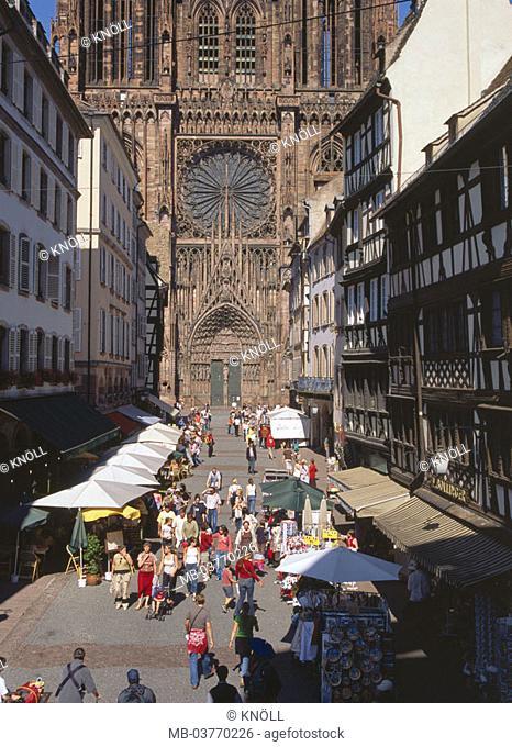 France, Strasbourg, Rue Mercier,  Strasbourg minsters, Westfassade,  Detail Europe, Département Bas-Rhin, Alsace, Strasbourg, sight, landmarks, center, downtown