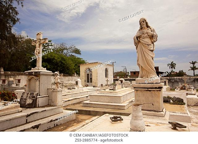 View to the statues and tombs in the cemetery, Trinidad, Sancti Spiritu Province, Cuba, West Indies, Central America