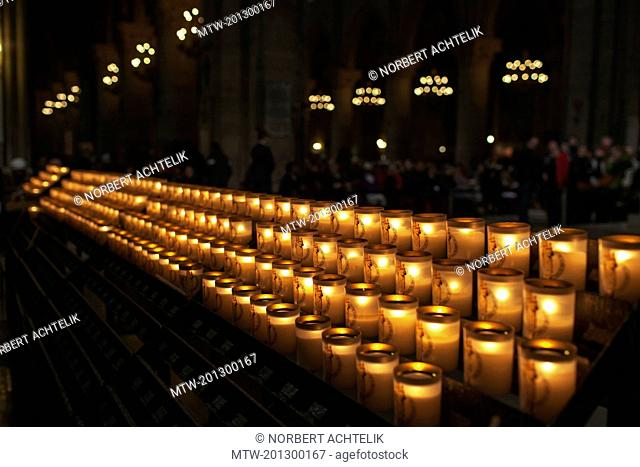 Lit votive candles in the basilica notre dame de fourviere, Lyon, Paris, France