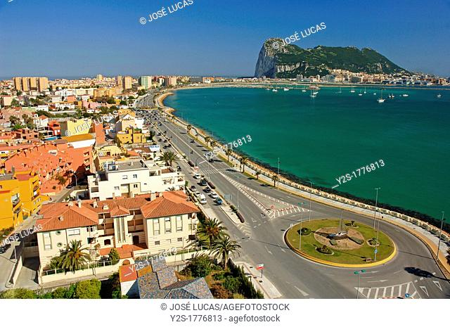 Panoramic view with Rock of Gibraltar, La Linea de la Concepcion, Cadiz-province, Spain