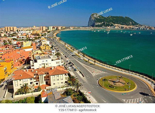 Panoramic view with Rock of Gibraltar, La Linea de la Concepcion, Cadiz-province, Spain