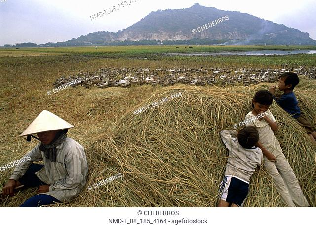 Mid adult man sitting on a heap of straw with his children, Vietnam