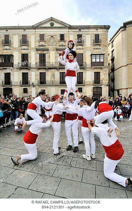 Castell, human tower. Falcons group. Celebration of saint Eulalia martyr, February 12. 290-303 AD. Canonized 633 AD. Copatron of Barcelona. Plaça Nova