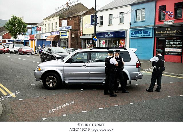 United Kingdom, Northern Ireland, Police Roadblock In Loyalist Sector Of City; Belfast
