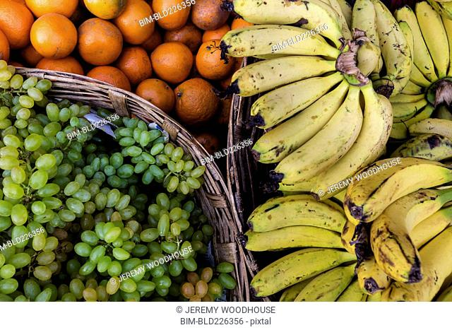 Fresh oranges, bananas and grapes
