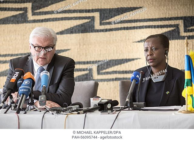 German Foreign Minister Frank-Walter Steinmeier (SPD, L) sist next to Rwanda's Foreign Minister Louise Mushikiwabo as he speaks during a press conference...