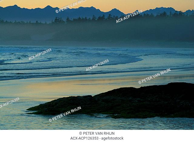 View of Long Beach after sunset, Pacific Rim National Park, British Columbia, Canada