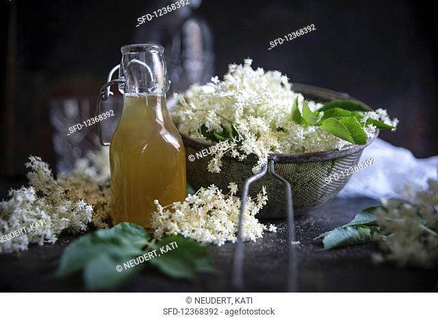 Elderflower syrup and elderflowers