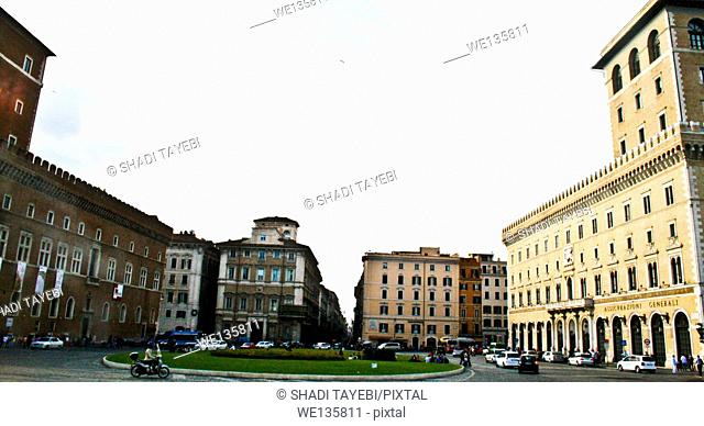A view of apartments round the square in Rome, Italy