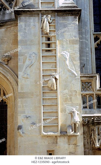 Jacob's Ladder angels (north side), West Front, Bath Abbey, Somerset. This represents the story in the Old Testament of Jacob
